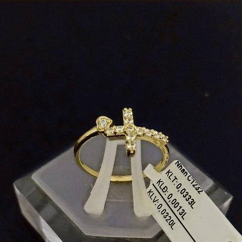 Nhẫn nữ thánh giá vàng đá trắng