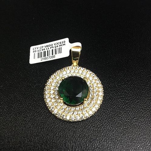 Mặt dây chuyền vàng đá xanh lá cây VJC 610