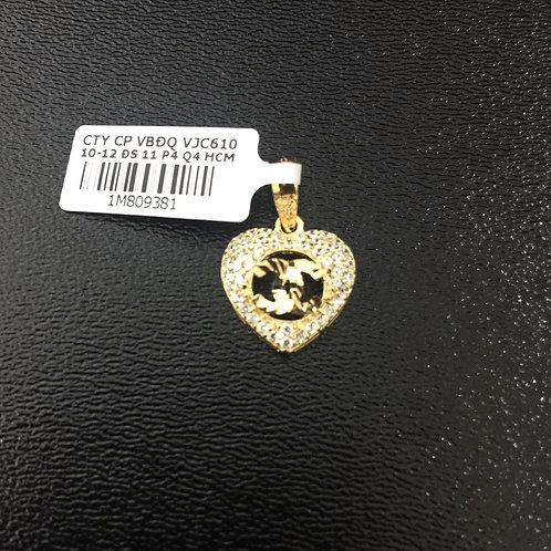 Mặt dây trái tim vàng chanel đá trắng VJC 610