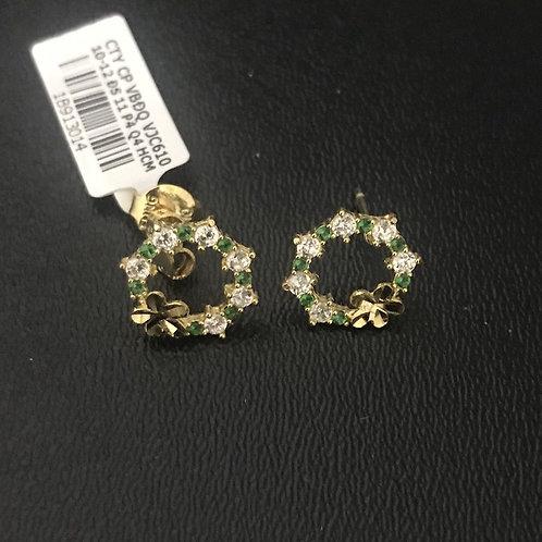 Bông tai vàng đá xanh lá cây VJC 610