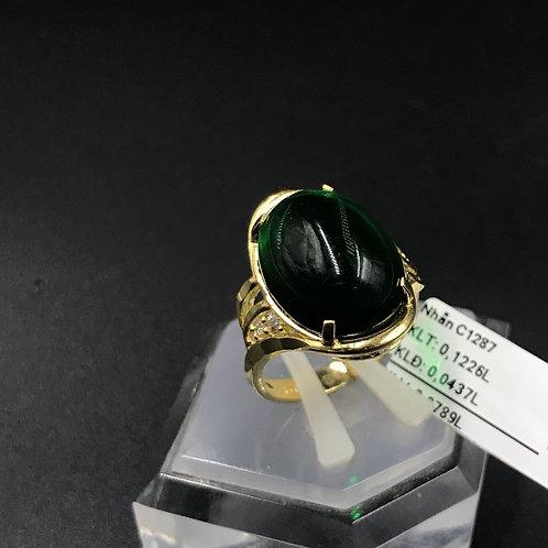 Nhẫn nữ vàng đá xanh lá cây