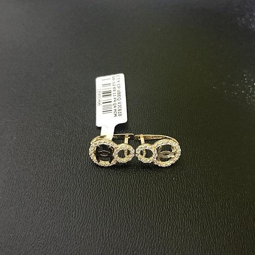 Bông tai vàng chanel đá trắng VJC 610