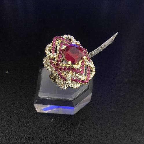 Nhẫn nữ hoa vàng đá đỏ VJC 610