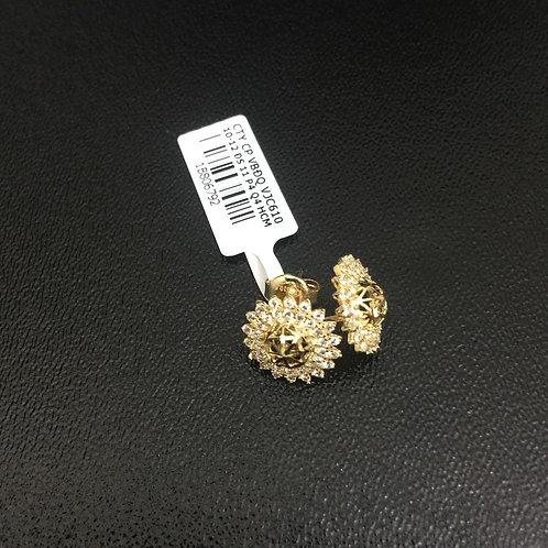 Bông tai vàng nữ đá trắng