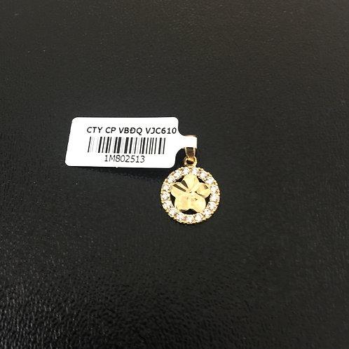 Mặt dây chuyền vàng nữ cánh hoa đá trắng VJC 610