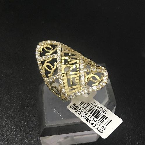 Nhẫn hoa văn vàng đá tấm trắng VJC 610