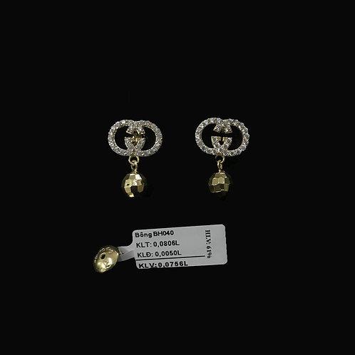 Bông tai gucci vàng đá trắng VJC 610