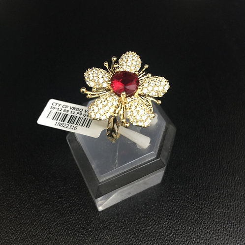 Nhẫn nữ vàng hoa đá đỏ VJC 610