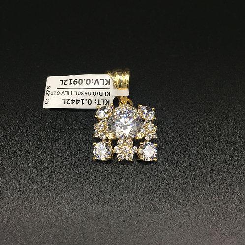 Mặt dây chuyền vàng nữ đá trắng vuông VJC 610