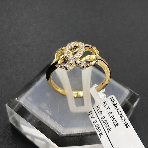 Nhẫn nữ trái tim vàng đá trắng