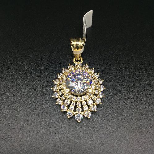 Mặt dây chuyền vàng nữ đá trắng oval VJC 610