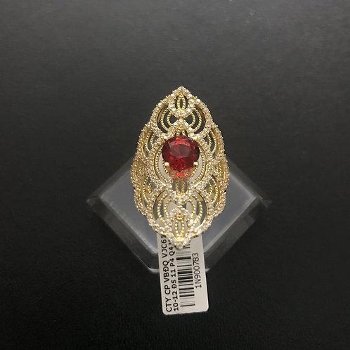 Nhẫn vàng hoa văn đá đỏ VJC 610