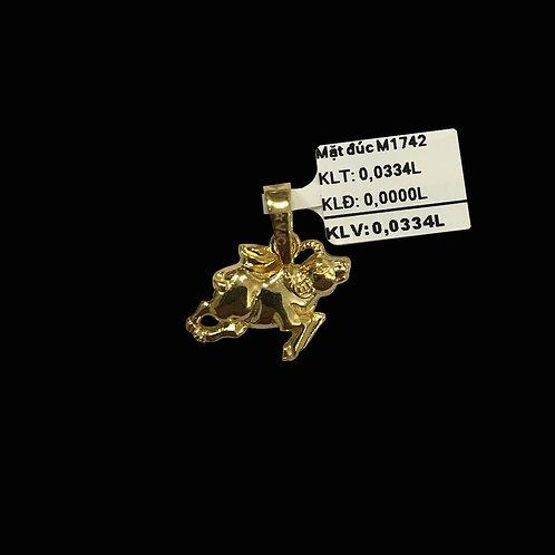Mặt dây Trâu vàng đá trắng VJC 610