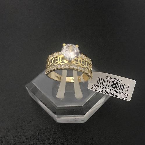 Nhẫn vàng nữ đồng tiền đá trắng VJC 610