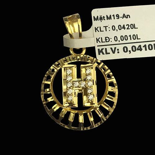 Mặt dây chữ H vàng đá trắng VJC 610