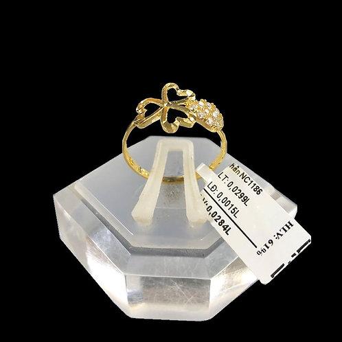 Nhẫn nữ tim vàng đá tấm trắng VJC 610