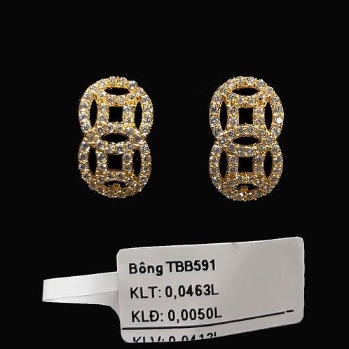 Bông tai kim tiền vàng đá trắng VJC 610