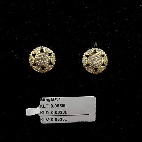 Bông tai sao vàng đá trắng VJC 610