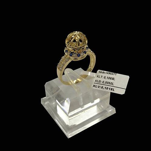 Nhẫn nữ bi vàng đá Xanh biển VJC 610