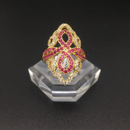 Nhẫn vàng nữ hoa văn đỏ VJC 610