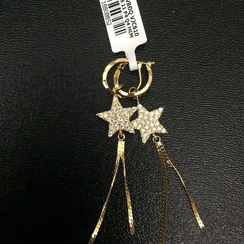 Bông tai tòng teng vàng ngôi sao đá trắng VJC 610
