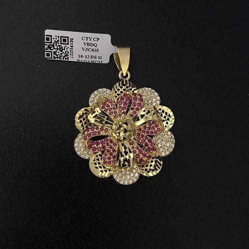 Mặt dây hoa vàng đá đỏ VJC 610