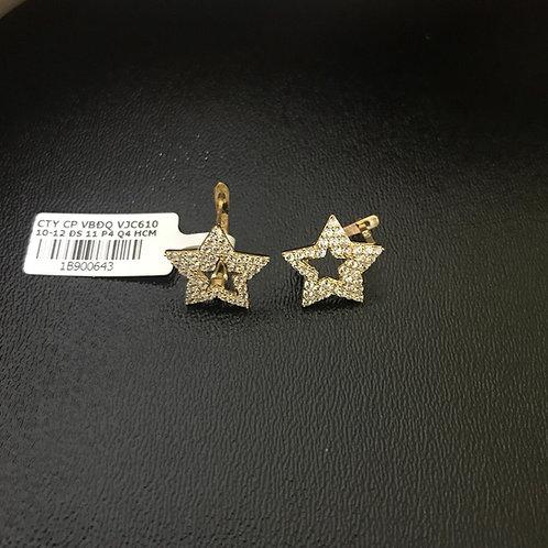 Bông tai vàng ngôi sao đá trắng VJC 610