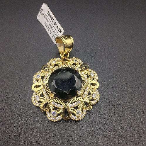 Mặt dây chuyền vàng nữ đá đen bông hoa VJC 610