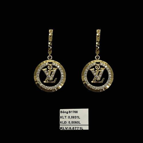 Bông tai LV vàng tòng teng đá trắng VJC 610