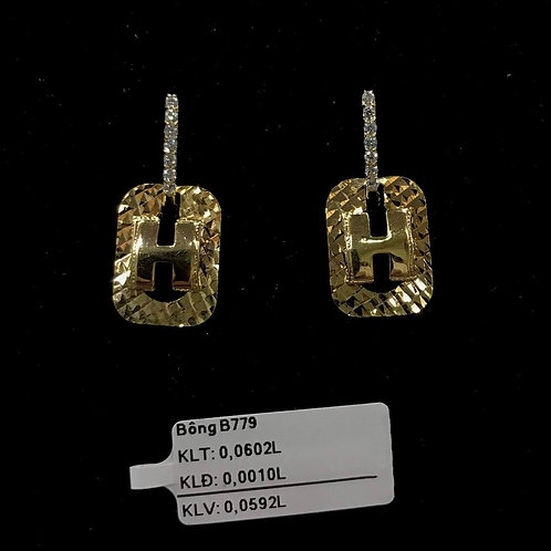 Bông tai chữ H vàng đá trắng VJC 610