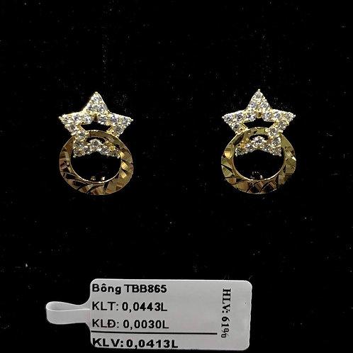 Bông tai ngôi sao vàng đá trắng - VJC 610