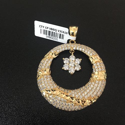 Mặt dây chuyền vàng vòng đá trắng VJC 610