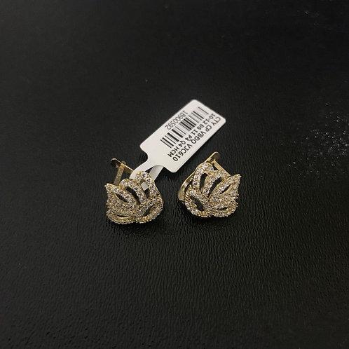 Bông tai vàng vương miện đá trắng VJC 610