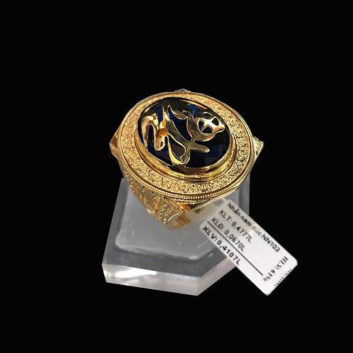 Nhẫn nam chữ Phúc vàng đá đen VJC 610