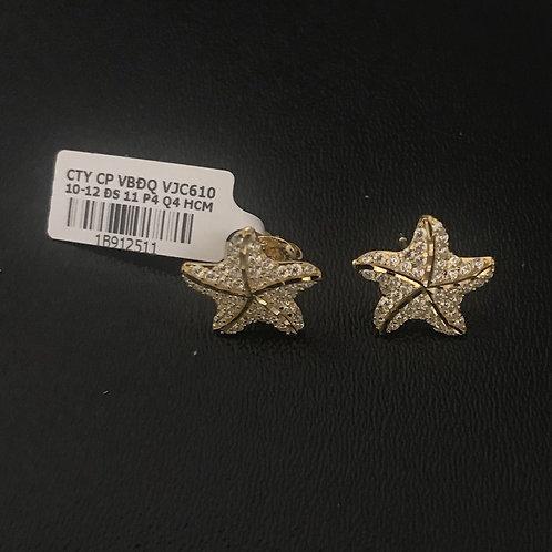 Bông tai sao biển vàng đá trắng VJC 610