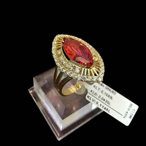 Nhẫn vàng nữ đá màu cam