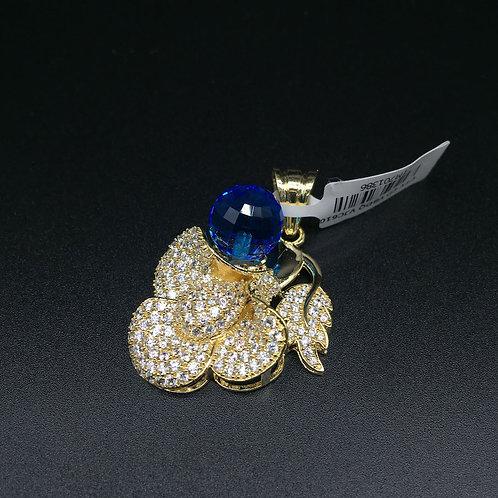 Mặt dây chuyền vàng nữ đá xanh nước biển hoa lá VJC 610