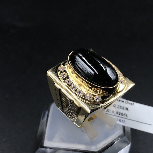 Nhẫn nam vàng đá đen oval