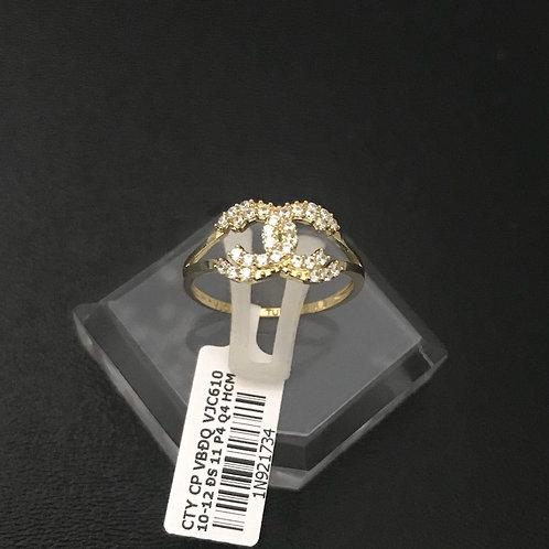 Nhẫn nữ chanel vàng đá trắng VJC 610
