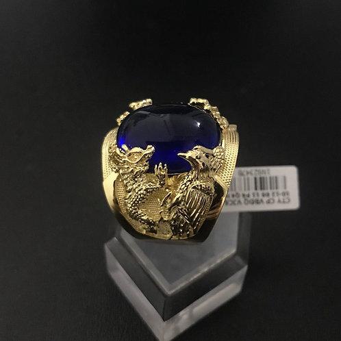 Nhẫn tứ linh vàng đá xanh biển VJC 610