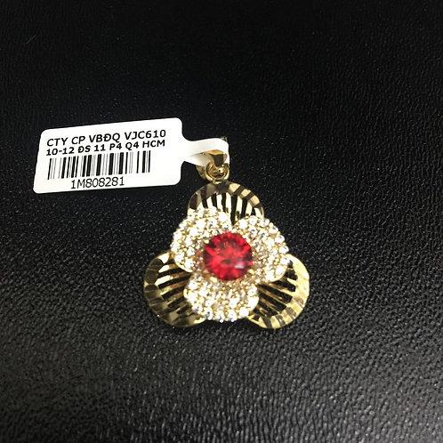 Mặt dây chuyền vàng hoa đá đỏ VJC 610