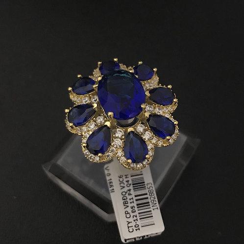 Nhẫn nữ vàng đá Xanh biển VJC 610