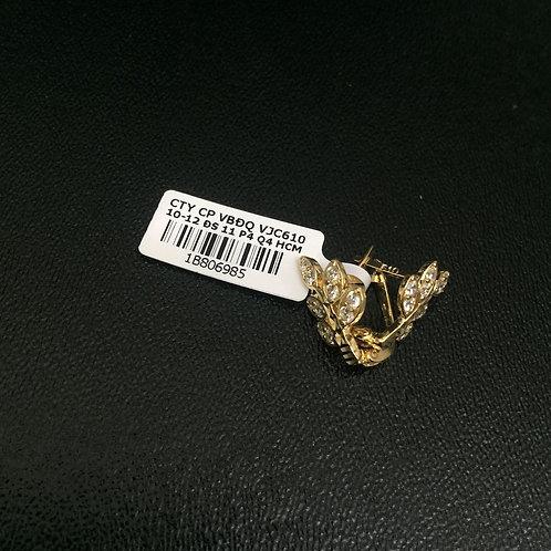 Bông tai vàng nữ chiếc lá VJC 610