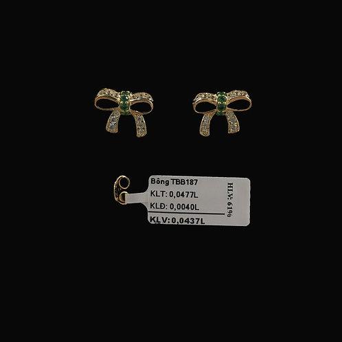 Bông tai nơ vàng đá xanh lá cây VJC 610