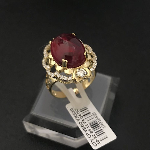 Nhẫn vàng đá đỏ VJC 610