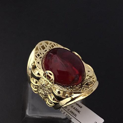 Nhẫn nam đồng tiền vàng đá đỏ
