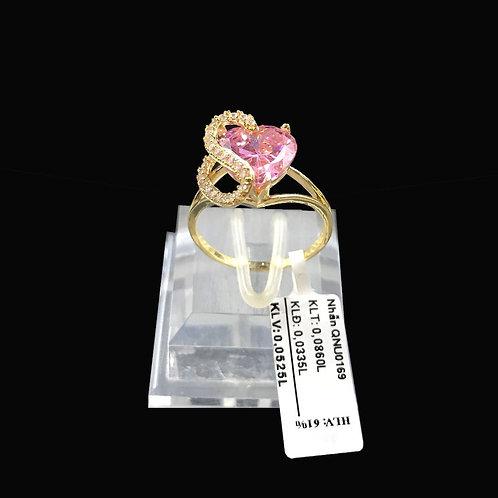 Nhẫn nữ tim vàng đá hồng