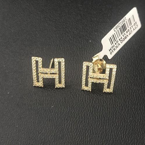 Bông tai chữ H vàng đá trắng - VJC 610