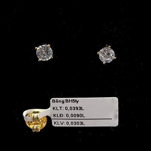 Bông tai vàng đá trắng 5ly VJC 610