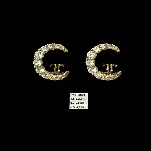 Bông tai Bán Nguyệt vàng đá trắng VJC 610